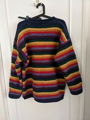 £100 • Buy Vintage Pachamama Colourful Rainbow Wool Jumper Sweater One Size Cute