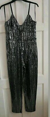 £22.99 • Buy Quiz-Black And Silver Sequin Bodycon Jumpsuit Playsuit. Size 14. Brand New