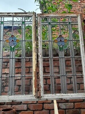 £95 • Buy Pair Of Antique Stained Glass Leaded Windows.