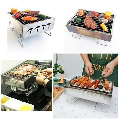 AU15.83 • Buy Portable Stainless Steel BBQ Charcoal Wood Outdoor Barbecue Grill Camping Picnic