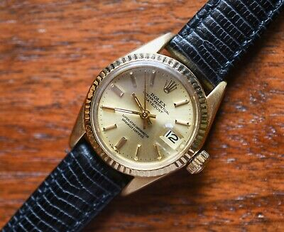 $ CDN4091.25 • Buy Vintage Ladies ROLEX 6900 6917 Automatic DATEJUST 18k Solid Gold Watch Cal. 1161