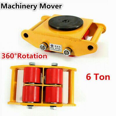 $58.30 • Buy 6 Ton Heavy Duty Machine Dolly Skate Roller Machinery Mover 360° Rotation Yellow