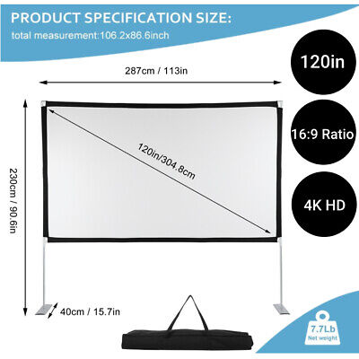 AU68.99 • Buy 120inch 4K Projector Screen 16:9 HD Home Cinema Theater Foldable Outdoor + Stand
