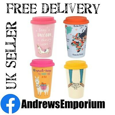 £7.95 • Buy Ceramic Thermal Travel Mug Cup Coffee Tea Drinks Gift Double Walled Rubber Lid