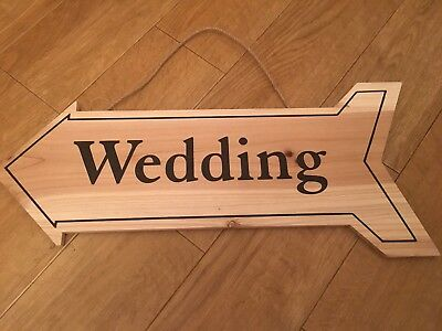 £7.95 • Buy Large Wooden Wedding Ceremony Sign Arrow Vintage Shabby Chic Style Plaque Venue