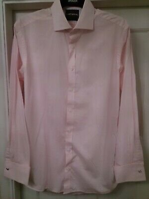 £22.50 • Buy Mens BNWT M&S SARTORIAL Pink Fine Gingham Check Shirt 16  Collar With Double Cuf