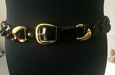 £11.50 • Buy Brown Thick Plastic Chain Belt PVC & Gold Metal Buckle Front- Retro ~ M