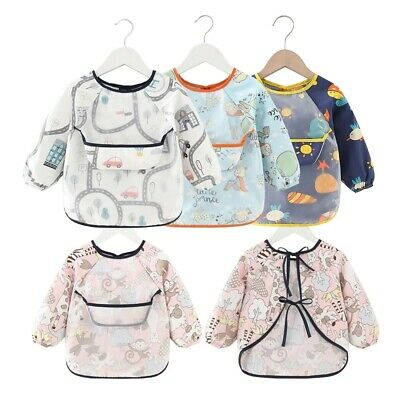 £4.32 • Buy Baby Kids Bibs With Full Long Sleeve Baby Toddler Weaning Feeding Apron Smock