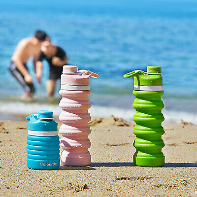 £5.99 • Buy 550ml Water Bottle Collapsible Leakproof Silicone - BPA Free Portable Sports Cup