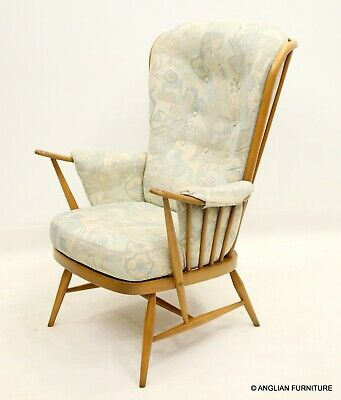 £437 • Buy Ercol Evergreen Windsor Easychair Floral Upholstery Light Finish FREE Delivery