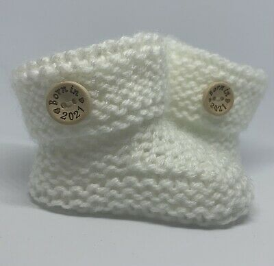 £3.99 • Buy Adorable Hand Knitted White Baby Boy Or Girl Booties. BORN IN 2021.Size 0-3 Mths