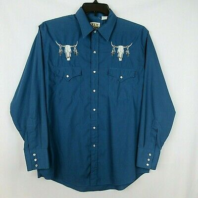 $19.95 • Buy ELY CATTLEMAN VTG Western Shirt L Cowboy Blue Pearl Snap Skull Embroidered Rodeo