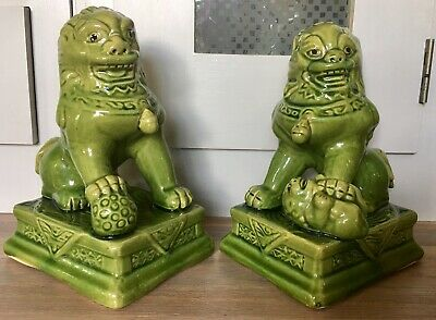£25 • Buy Vintage Pair Of Foo Dogs Green Temple Lions 8 Inch