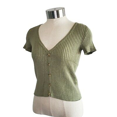 AU23.09 • Buy Bershka Ribbed Button Up Short Sleeve Crop Top Size XS Sage Green Y2K Festival
