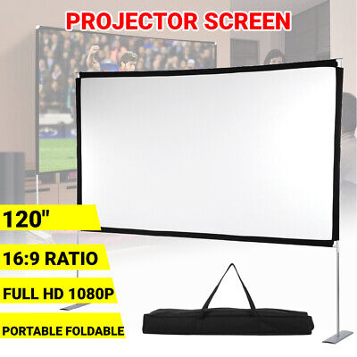 AU75.95 • Buy 120'' Inch Projector Screen 4K HD 16:9 Home Cinema Theater Foldable With Stand