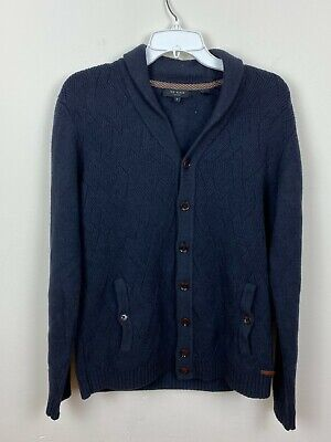 $24.99 • Buy Ted London Mens Sweater Cardigan Button Down Navy Blue Knit Sz 4