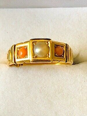 £249 • Buy Gorgeous Hallmarked Antique 18ct Yellow Gold Coral And Pearl Ring. Size L/M.