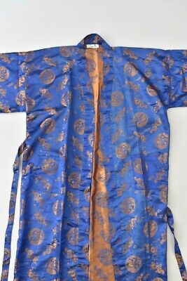 $27.50 • Buy Yushan Chinese Blue & Gold Colour Dragon Design Men's Satin Dressing Gown Size L