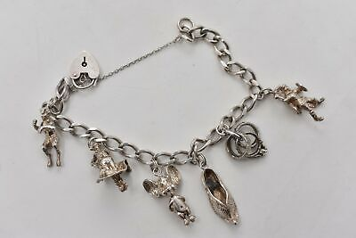 £29.99 • Buy Vintage Sterling Silver Charm Bracelet & 6x Charms Shoe, Mouse Etc In Blue Box