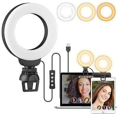 AU21.99 • Buy 4  LED Ring Light For Laptop  + Clip For Fill Light Ipad Computer Cameras