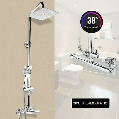 £39.99 • Buy Chrome Thermostatic Exposed Shower Mixer Bathroom Twin-Head Square Bar Kits