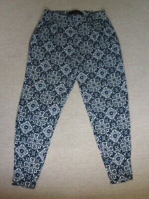£15 • Buy Next Blue White Green Patterned Print Jersey Harem Trousers Size 12 With Pockets
