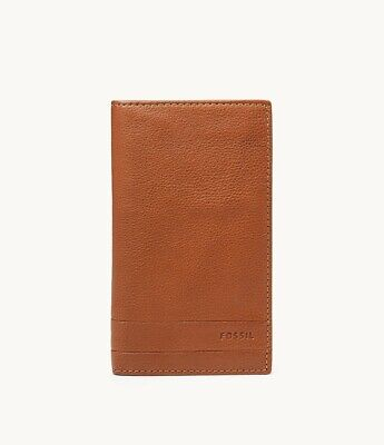 $37.99 • Buy Fossil Lufkin Mens Slim Bifold Executive Wallet Medium Brown Pebbled Leather NWT