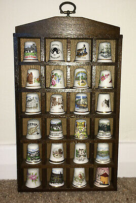 £7.50 • Buy Set Of 24 China Porcelain Thimbles In Wooden Presentation Wall Mounted Case