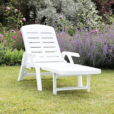 £74.95 • Buy Sun Lounger Garden Recliner Foldable White Plastic Chair Outdoor Furniture Patio
