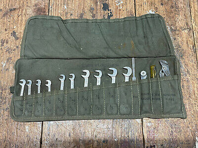 $60 • Buy Vintage 14 Pcs US Military Ignition Wrench Set Tool Roll Canvas Pouch USA 1954