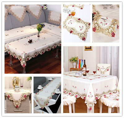 AU11.63 • Buy White Embroidered Flower Lace Dining Table Runner/Tablecloth Party Wedding Decor
