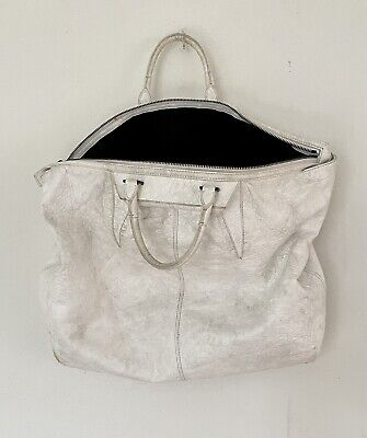 AU135 • Buy ALEXANDER WANG Cream Ivory Off White Double Handle Large Leather Bag In VGC