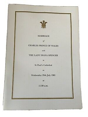 £25 • Buy Antique Order Of Service Wedding Marriage Prince Charles To Lady Princess Diana
