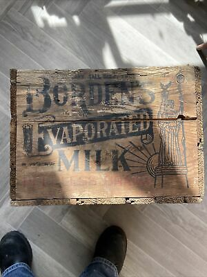 $125 • Buy Early Wooden Borden's Dairy Milk Crate Box Hard To Find Rear 1910s Advertising