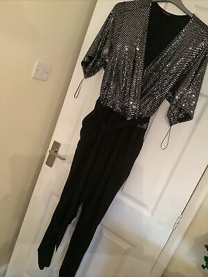 £16 • Buy Evans Plus Size 24 Black And Silver Long Playsuit Jumpsuit  All In One .  New