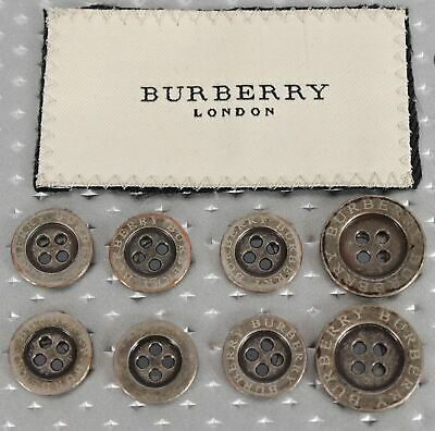 £29.08 • Buy Burberry London Set Of  8 Antique Pewter Metal 4 Hole Blazer Buttons Repalcement