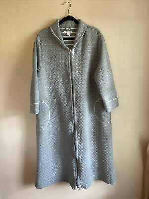 £12.66 • Buy Carole Hochman Quilted Robe Grey Floral Zip Front Brushed Cotton Blend 1X