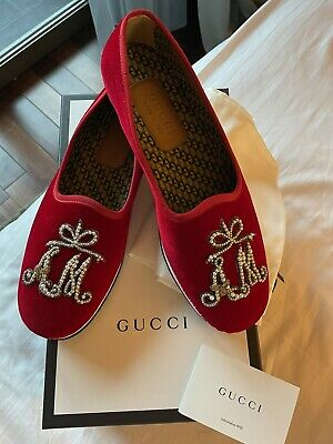 AU338.34 • Buy Gucci Velvet Loafers Shoes Red Fabric A&M Monogram Sz 9 NEW