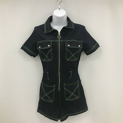 $ CDN8.64 • Buy Oh Polly Playsuit UK 10 Dark Blue Green Stitch Zip Front Casual Party 132350