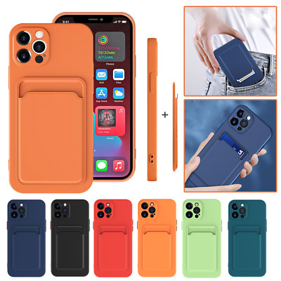 AU5.59 • Buy For IPhone 12 11 Pro Max XS 8 7 Plus Liquid Silicone Card Slot Pocket Case Cover
