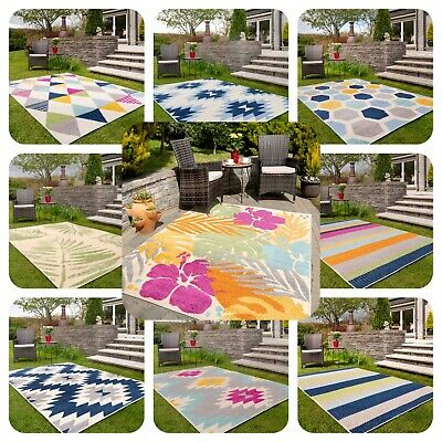 £14.95 • Buy Large Outdoor Garden Rugs Colourful Bright Floral Geometric Patio Washable Mats