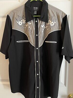 $39.99 • Buy Men's Western Rockabilly Shirt Embroidered Snap Front Black White BC Ethic