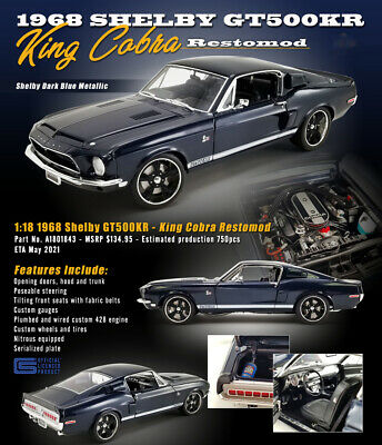 AU183.35 • Buy 1968 Ford Mustang Shelby Gt500kr Restomod King Cobra Blue 1:18 By Acme A1801843
