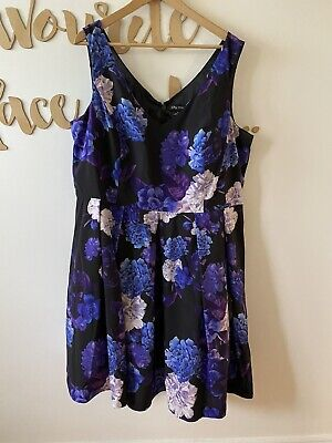 AU45 • Buy City Chic Womens Purple Hydrangea Floral Fit Flare Dress Padded Bust Size XL