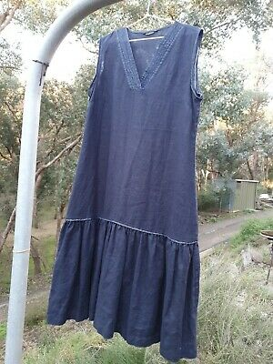 AU49 • Buy GORMAN Size 12 Linen Smock Dress With Frill, Great Condition
