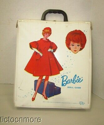 $ CDN12.58 • Buy Vintage Barbie Bubblecut Doll Trunk Case White Red Flare Travel 1963 Floral Intr