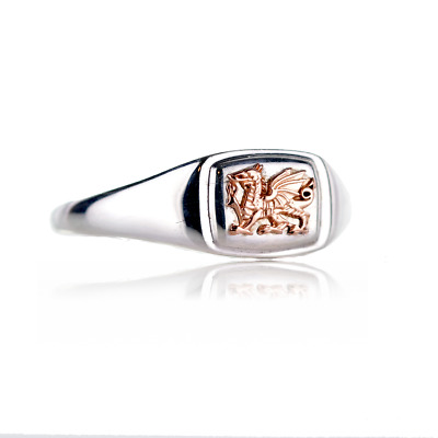 £89 • Buy Clogau Silver Ring Size S Welsh Dragon Signet Rose Gold 3SCMG81/S