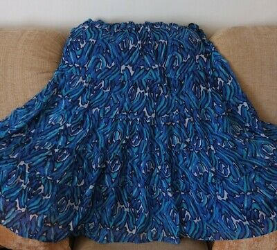 £4.99 • Buy ISLE  Tiered Gypsy Boho Blue Patterned Skirt - Size 18 Excellent Condition