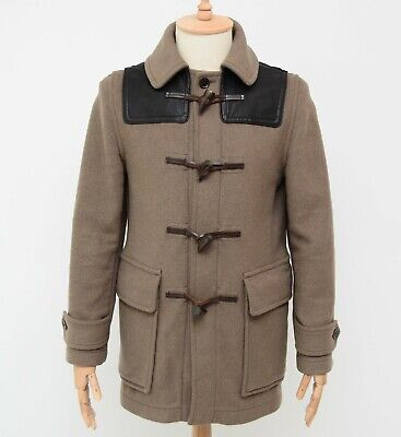 $349 • Buy Men's Burberry BRIT Check-lined NO HOODED Duffle Coat Jacket Wool Leather Size S