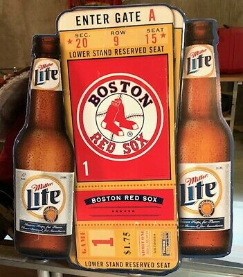 $75 • Buy Large Tin Bar Package Store Man Cave Miller Lite Beer Boston Red Sox Sign
